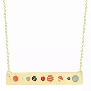 Gold Solar System Bar Necklace